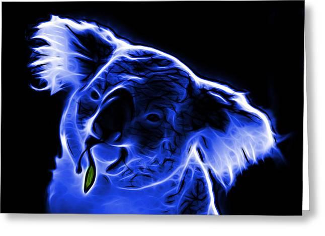 Koala Art Greeting Cards - Koala Pop Art - Blue Greeting Card by James Ahn