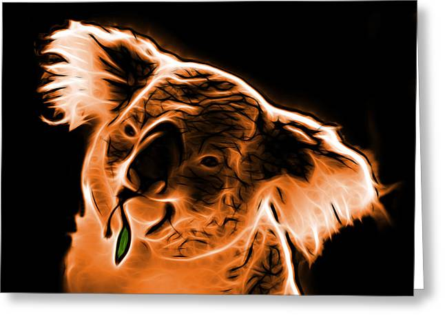 Koala Art Greeting Cards - Koala Pop Art - Orange Greeting Card by James Ahn