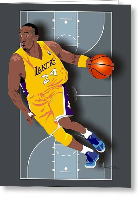 Kobe Bryant Greeting Cards - Kobe Bryant 24 Greeting Card by Walter Oliver Neal