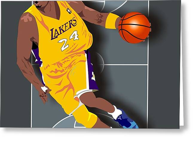 Kobe Bryant 24 Greeting Card by Walter Oliver Neal