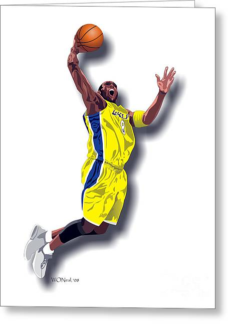 Kobe Bryant Greeting Cards - Kobe Bryant 8 Greeting Card by Walter Oliver Neal