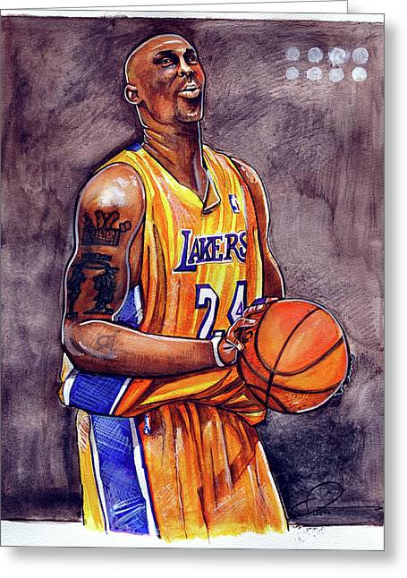 Lakers Greeting Cards - Kobe Bryant Greeting Card by Dave Olsen