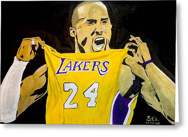 Lakers Paintings Greeting Cards - Kobe Bryant Greeting Card by Estelle BRETON-MAYA