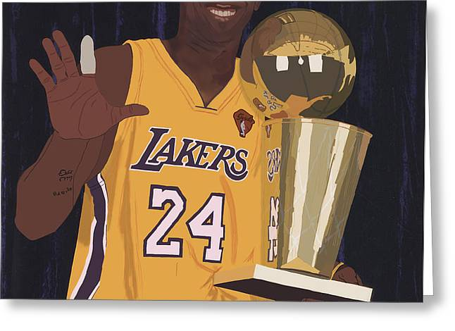 Kobe Bryant Five Championships Greeting Card by Tomas Raul Calvo Sanchez