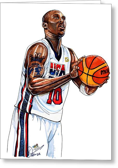 Recently Sold -  - Kobe Greeting Cards - Kobe Bryant Mens USA Basketball Greeting Card by Dave Olsen