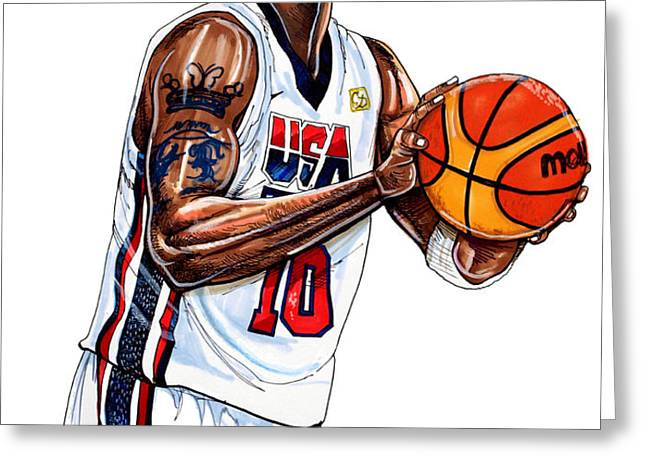 Kobe Bryant Men's USA Basketball Greeting Card by Dave Olsen