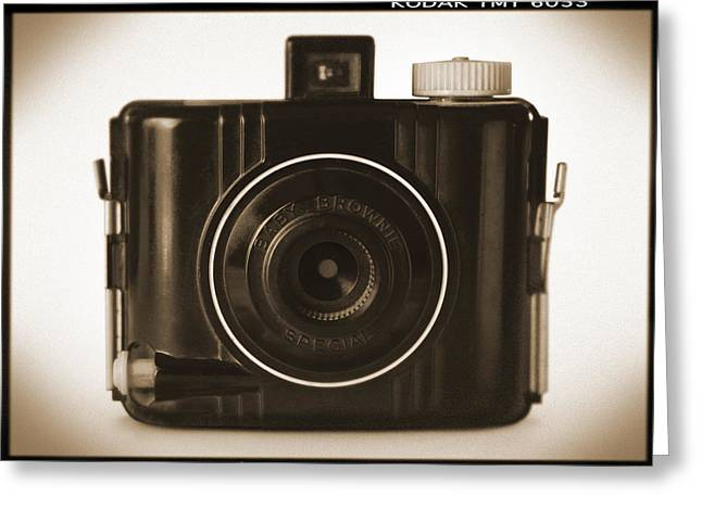 Vintage Camera Greeting Cards - Kodak Baby Brownie Greeting Card by Mike McGlothlen