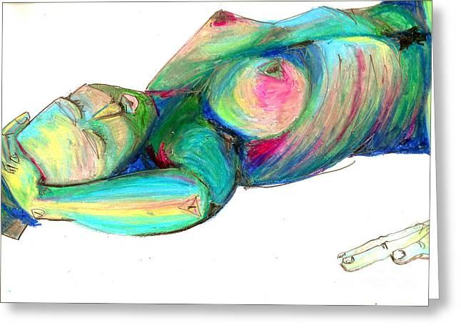 Koerperstudie3 Greeting Card by Roswitha Schmuecker