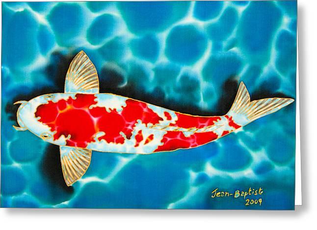 Pond Tapestries - Textiles Greeting Cards - Kohaku Koi Greeting Card by Daniel Jean-Baptiste