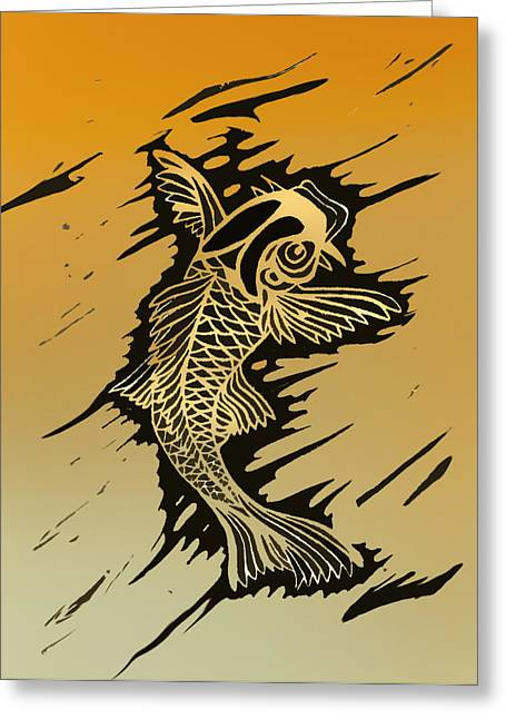 Linoleum Print Mixed Media Greeting Cards - Koi 2 Greeting Card by Jeff DOttavio