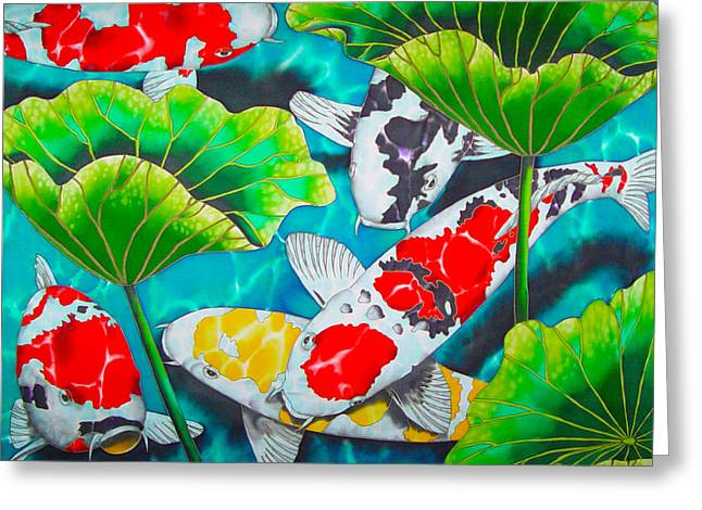 Water Garden Tapestries - Textiles Greeting Cards - Koi and Lotus Greeting Card by Daniel Jean-Baptiste