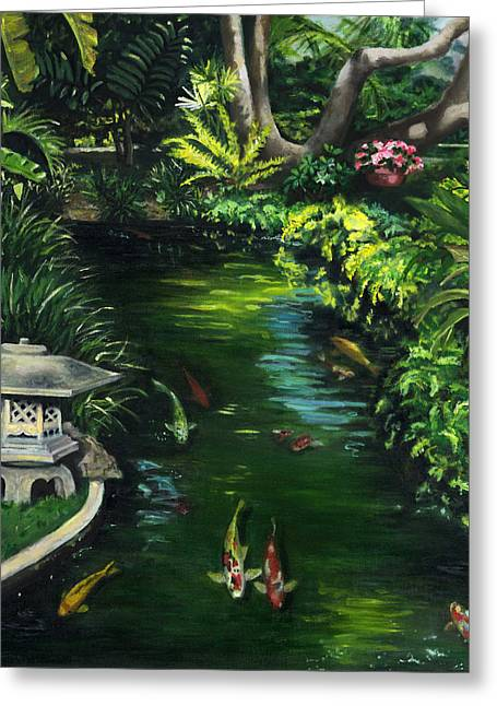 Realization Greeting Cards - Koi Calm Greeting Card by Lisa Reinhardt