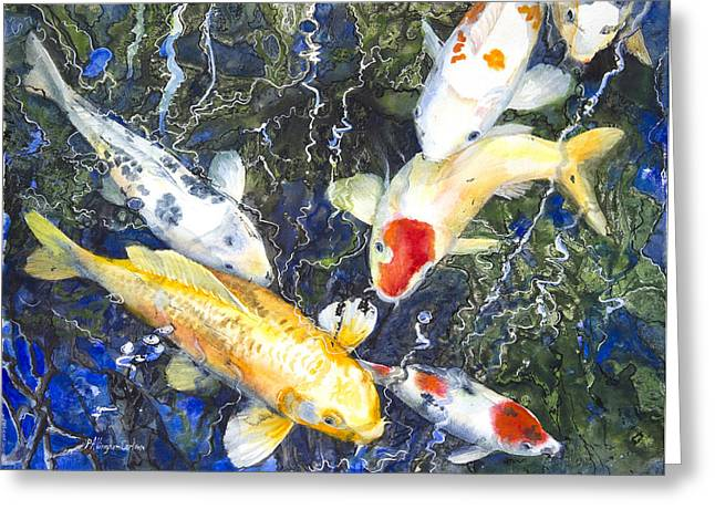 Patricia Mixed Media Greeting Cards - Koi Deep Blue Greeting Card by Patricia Allingham Carlson