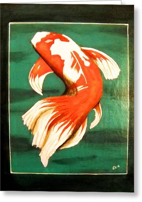 Edwin Alverio Greeting Cards - Koi Fish Greeting Card by Edwin Alverio