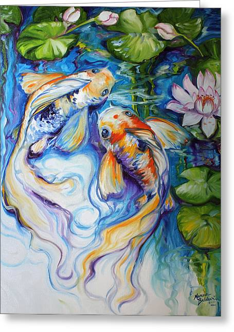Ebay Greeting Cards - KOI KOI and LILY Greeting Card by Marcia Baldwin