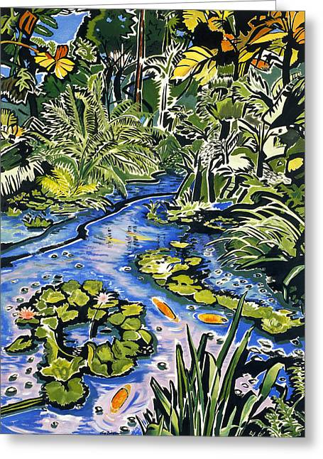 Hamakua Greeting Cards - Koi Pond Greeting Card by Fay Biegun - Printscapes