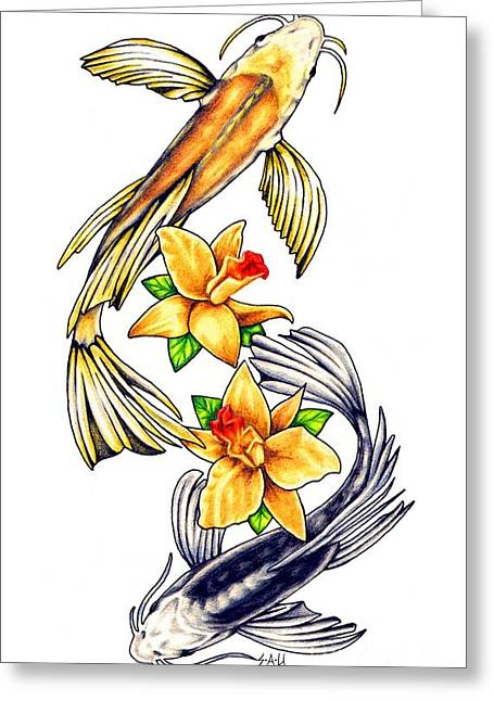 Colour Pencil Greeting Cards - Koi Greeting Card by Sheryl Unwin