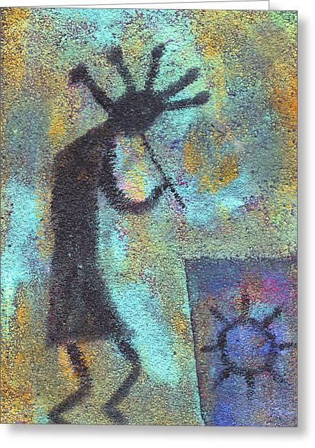 Kokopeli Greeting Cards - Kokopeli Greeting Card by Wayne Potrafka