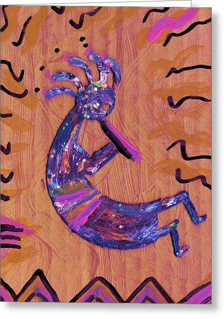 Player Greeting Cards - Kokopelli In the Pink Greeting Card by Anne-Elizabeth Whiteway
