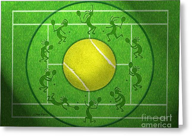 Tennis Match Greeting Cards - Kokopelli Tennis Grass Greeting Card by Chris Rhynas