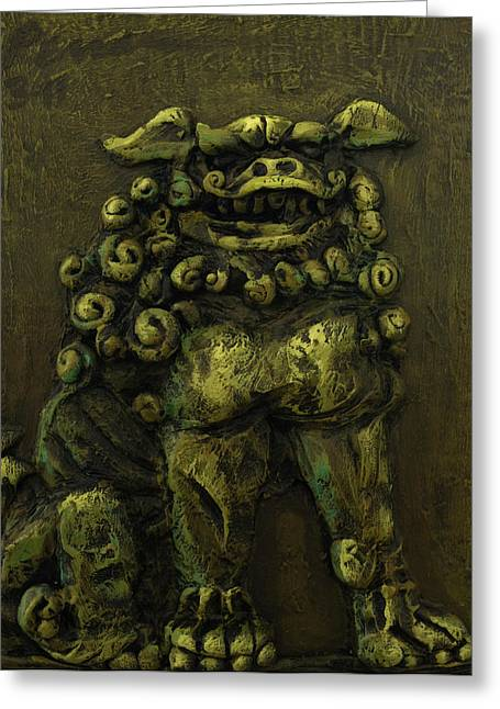 Statue Reliefs Greeting Cards - Komainu Guardian Greeting Card by Erik Pearson