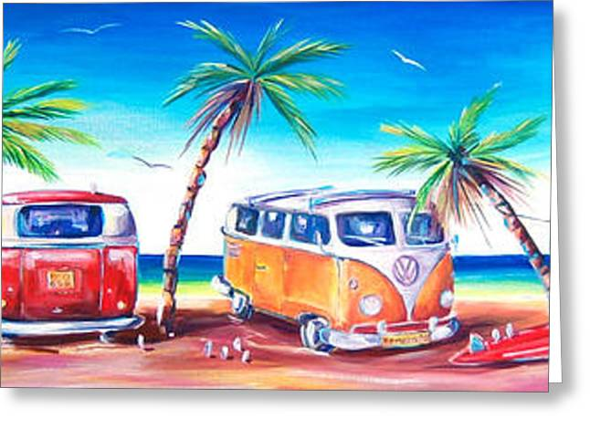 Beach Greeting Cards - Kombi Club Greeting Card by Deb Broughton