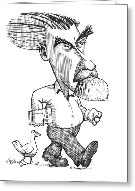 Ducklings Greeting Cards - Konrad Lorenz, Caricature Greeting Card by Gary Brown