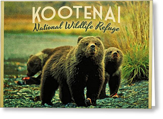Wildlife Refuge. Greeting Cards - Kootenai Wildlife Refuge Bears Greeting Card by Flo Karp