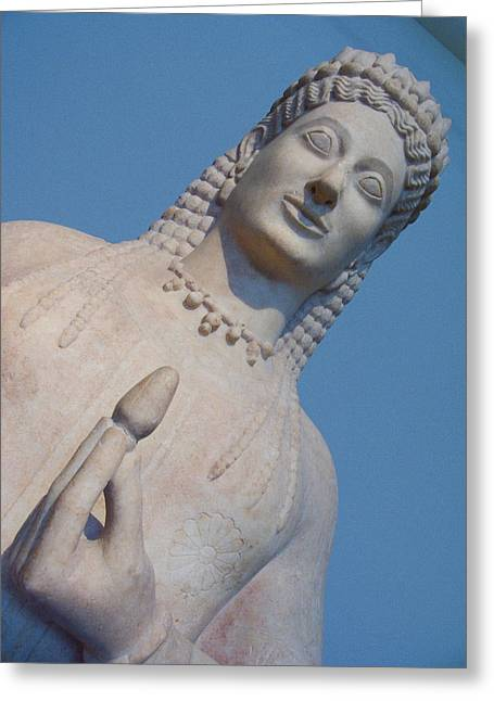 Greek Sculpture Greeting Cards - Kore Statue At The Acropolis Museum Greeting Card by Richard Nowitz