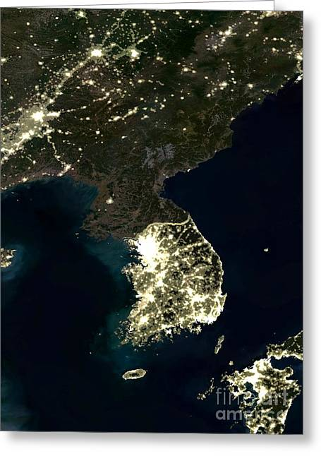 Light Pollution Greeting Cards - Korean Peninsula Greeting Card by Planet Observer and SPL and Photo Researchers