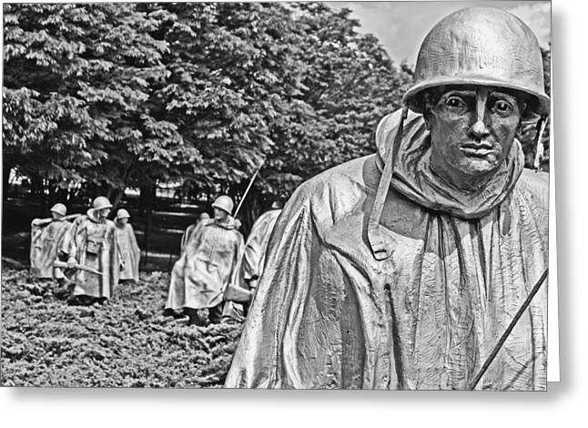 Bravery Greeting Cards - Korean War Memorial Greeting Card by Tom Gari Gallery-Three-Photography