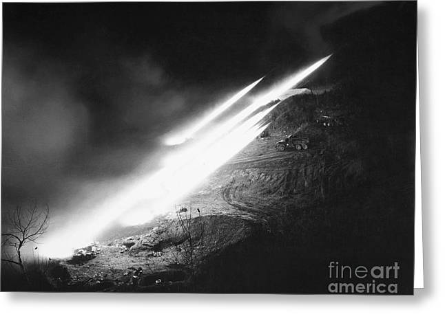 Salve Greeting Cards - Korean War: Rocket Launch Greeting Card by Granger