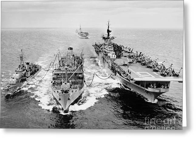Uss Essex Greeting Cards - Korean War: Ship Refueling Greeting Card by Granger