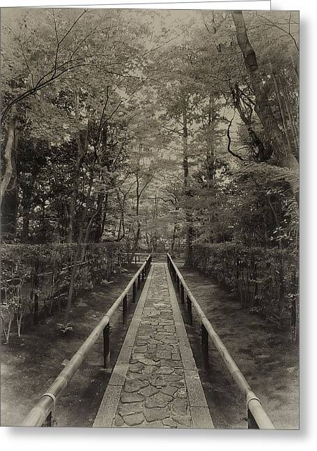 Kansai Photographs Greeting Cards - Koto-in Zen Temple Forest Path - Kyoto Japan Greeting Card by Daniel Hagerman