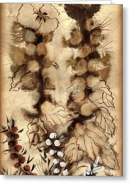 Absorb Paintings Greeting Cards - Kotsim thorny desert plants in brown flowers leaves monochrome white   Greeting Card by Rachel Hershkovitz