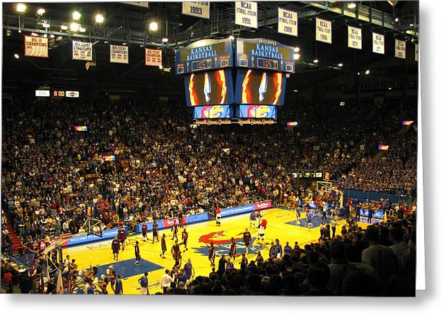 Jayhawk Greeting Cards - KU Allen Fieldhouse Greeting Card by Keith Stokes