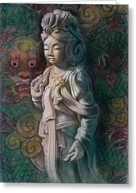 Quan Yin Art Greeting Cards - Kuan Yin Dragon Greeting Card by Sue Halstenberg