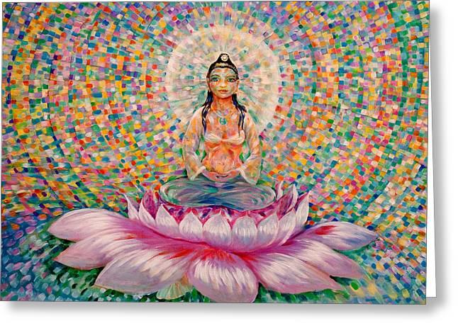 Kuan Greeting Cards - Kuan Yin Goddess of Compassion Greeting Card by Justin Williams