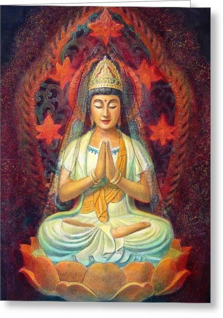 Quan Yin Art Greeting Cards - Kuan Yins Prayer Greeting Card by Sue Halstenberg