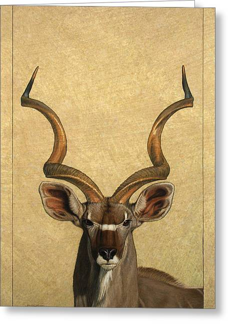 African Drawings Greeting Cards - Kudu Greeting Card by James W Johnson
