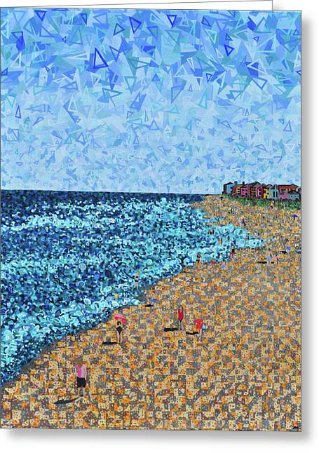 Abstract Beach Landscape Greeting Cards - Kure Beach - A View from the Pier Greeting Card by Micah Mullen