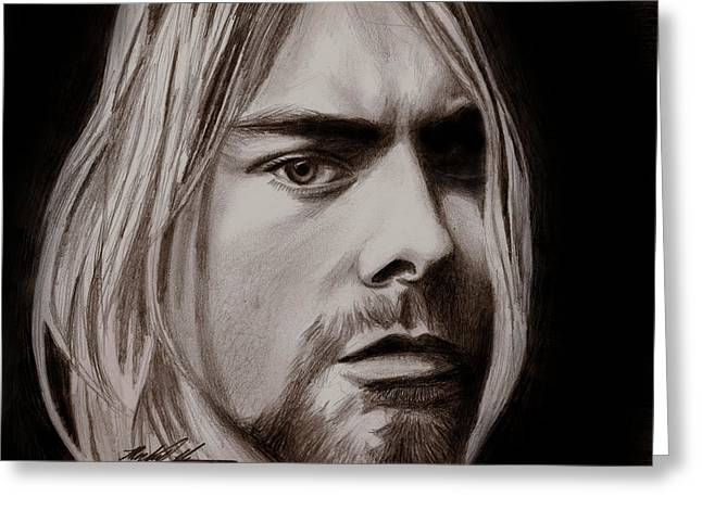 Suicide Mixed Media Greeting Cards - Kurt Cobain Greeting Card by Michael Mestas