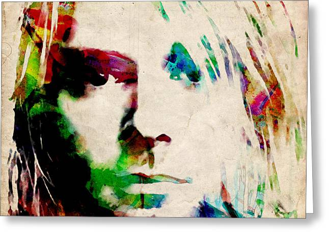 Kurt Cobain Urban Watercolor Greeting Card by Michael Tompsett