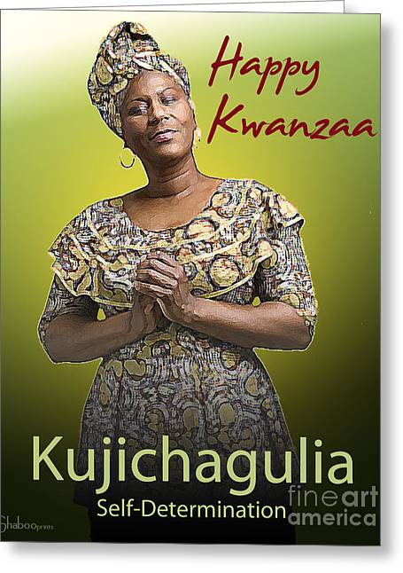 Best Sellers -  - African Heritage Greeting Cards - Kwanzaa Kujichagulia Greeting Card by Shaboo Prints
