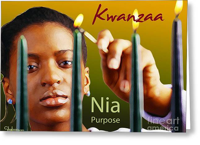 Best Sellers -  - African Heritage Greeting Cards - Kwanzaa Nia Greeting Card by Shaboo Prints