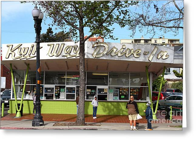 French Fries Greeting Cards - Kwik Way Drive-In Fast Food Restaurant . Oakland California . 7D13521 Greeting Card by Wingsdomain Art and Photography