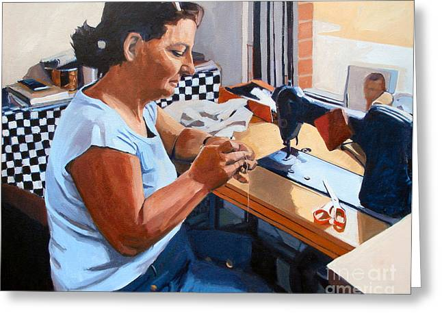 Scissors Paintings Greeting Cards - Kydrete The Seamstress Greeting Card by Deb Putnam