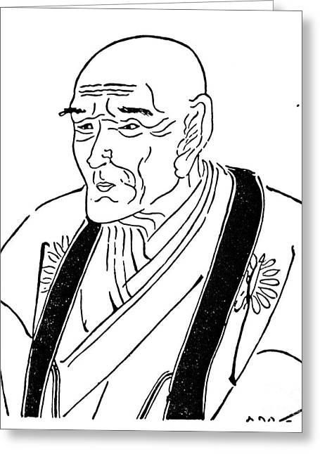 Portrait Woodblock Greeting Cards - Kyokutei Bakin (1767-1848) Greeting Card by Granger