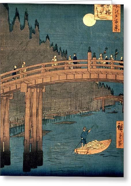 Places Greeting Cards - Kyoto bridge by moonlight Greeting Card by Hiroshige