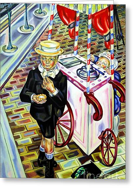 Enfants Paintings Greeting Cards - L enfant a la Glace Greeting Card by Pg Reproductions